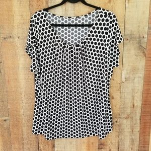 Worthington Honey Comb Black & White Blouse 2X